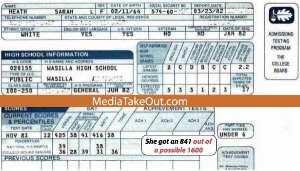 Sarah Palin's 841 SAT Score